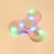 Fidget Hand Spinner LED Light Bluetooth Speaker Music Focus Toy - White