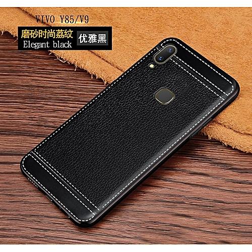 huge discount b3706 79766 Luxury Soft Case For VIVO V9 Leather Plating Full Cover (Black)