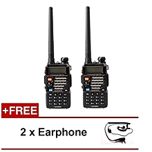 Baofeng UV-5RE 5W 128CH VHF UHF Dual Band Portable Two Way Walkie Talkie 1 Set 2 Pcs + FREE Earphone (2pcs)