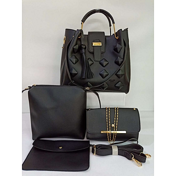 9b87e8ba6ba8 Generic 4 in 1 High Quality Celine Paris Handbags - Black-Unique ...