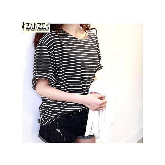 326cab007532 ZANZEA Fashion T-Shirts Women Summer Striped Tops Tees Casual Loose O Neck  Batwing Sleeve