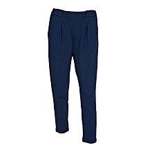 Blue Stretchy Casual Pants