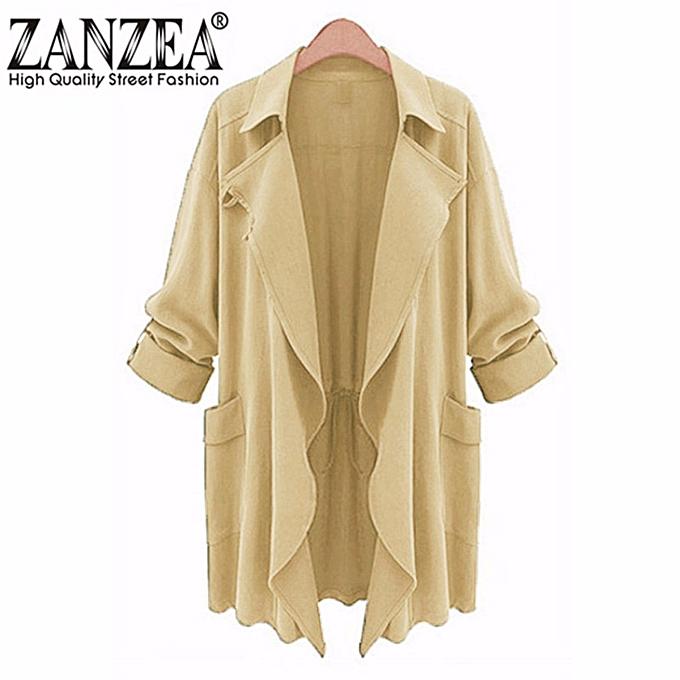 109a0fa91a9 ZANZEA PLUS SIZE Womens Lapel Slim Long Chiffon Parka Cardigan Jacket  Trench Coat New Beige Size