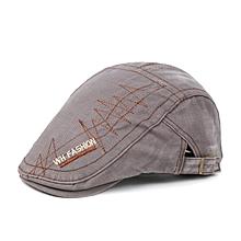 Men Retro Washed Beret Hat Buckle Lightning Line Hats Newsboy Cabbie Gentleman Visor Caps