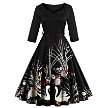 Women Dresses Printing Fashion V-neck Party Dress Elegant Dress Casual Ball Gown Dresses For Women - Black