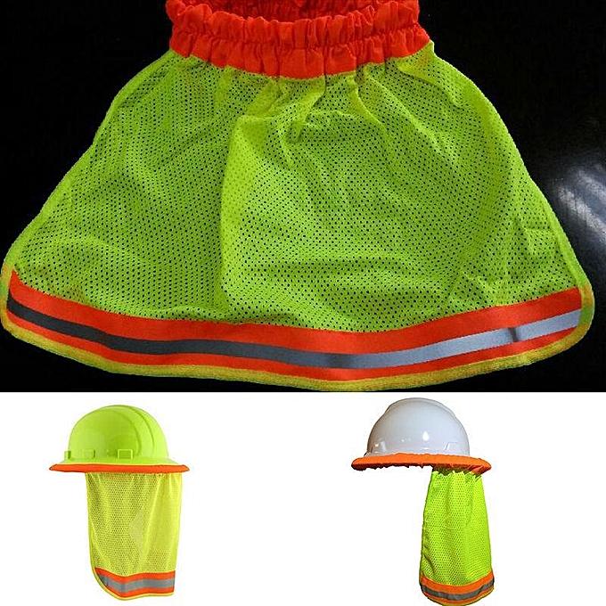 e4ba3a4693628 ... Safety Hard Hat Neck Shield Helmets Sun Shade HI VIS Reflective Stripe  Yellow ...