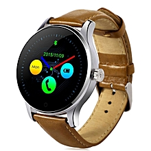 K88H - Smart Watch Heart Rate Track MTK2502 For Android IOS Leather 300mAh - Brown