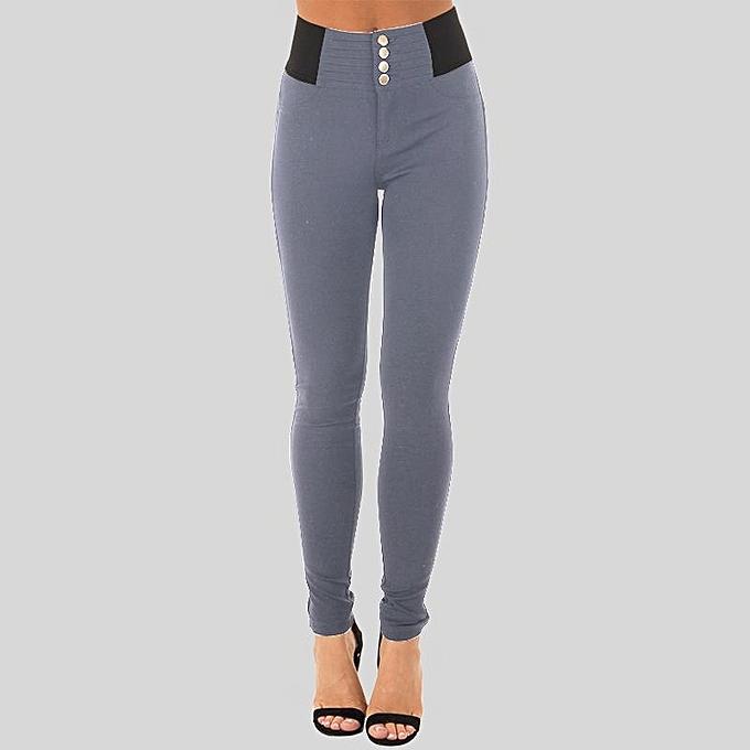 67d092b96e ZANZEA Women Slim Fit Jeggings Leggings Stright Leg Trousers Pencil Pants  Grey