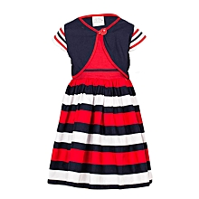 68844a1e697cf Red Sleeveless Squared Neck Girls Dress