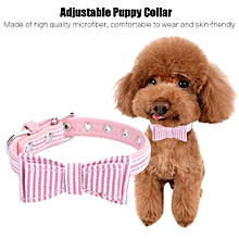 Adjustable Pets Dogs Puppy Stripe Collar Necklace With Bow Tie Decor