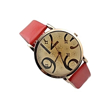 Women's Flowers Big Numbers Faux Leather Quartz Watch Red