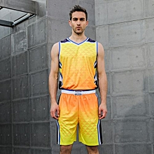 Newest Fashion Men's Top Quality Basketball Team Training Sports Shirts Shorts Jersey Set-Yellow