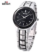 Men Quartz Watch Artificial Diamond Dial Hardlex Mirror Wristwatch-BLACK