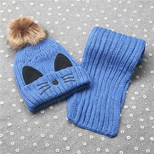 Eissely Baby Boys Girls Winter Warm Hat Children Knitting Ball Hats Scarf  Sets e30278ac609