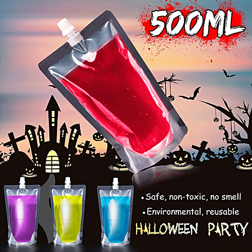 500ml Halloween Blood Energy Drink Bag Reusable Cosplay Pouch Vampire  Syringe