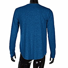 bluerdream-Men Slim Fit O Neck Long Sleeve Muscle Tee T-shirt Casual Tops Blouse L-Blue