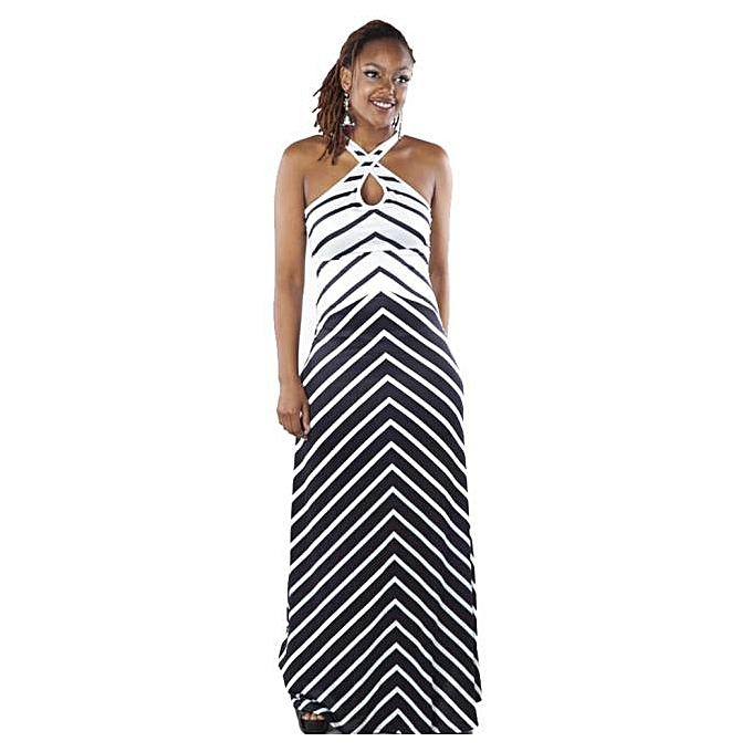 2413eef43fe Hiaojbk Store Women V Neck Stripe Sleeveless Boho Long Maxi Dress Beach  Dresses Sundress L-