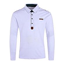 Epaulet PU Leather Applique Polo T-shirt - WHITE