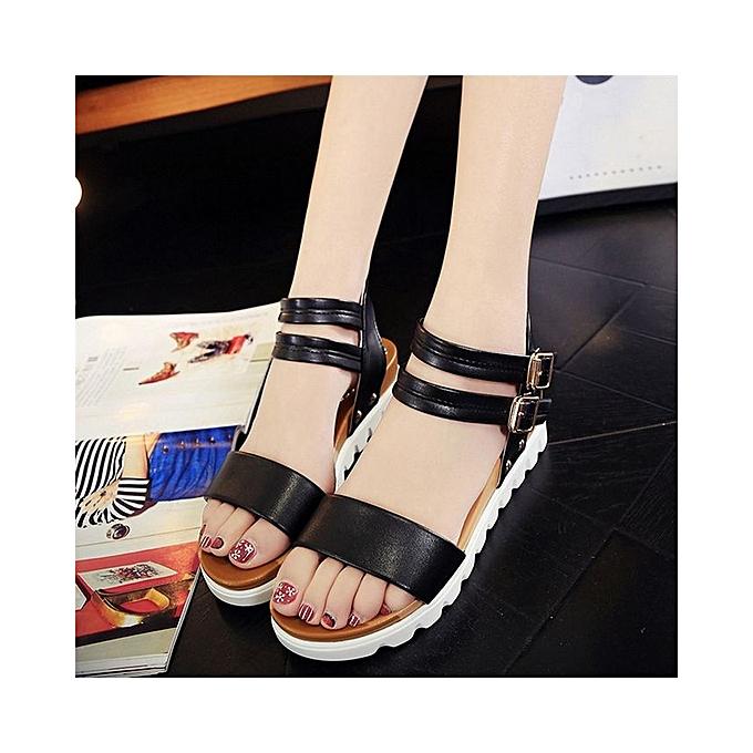 0de2c9d32937bd ... Fashion Women Simple Sandals Leather Flat Sandals Ladies Shoes-Black (EU  Sizing) ...