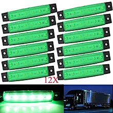 12pcs 6 SMD LED 0.5W 24V Side Marker Indicator Lights Bus Truck Trailer 3.8Inch Green