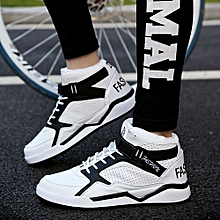 Fashion Men's Lace-Up High Top Sport Shoes Sneakers White
