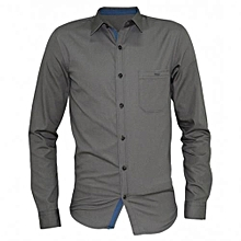 Grey Long Sleeved Button-Down Men's  Shirts