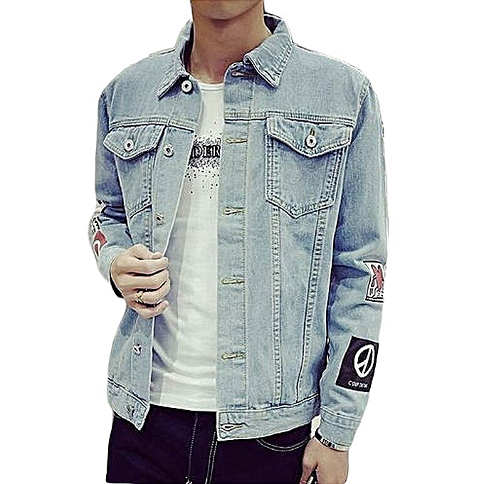 Generic Solid Casual Slim Mens Denim Jacket Plus Size M 2xl Bomber