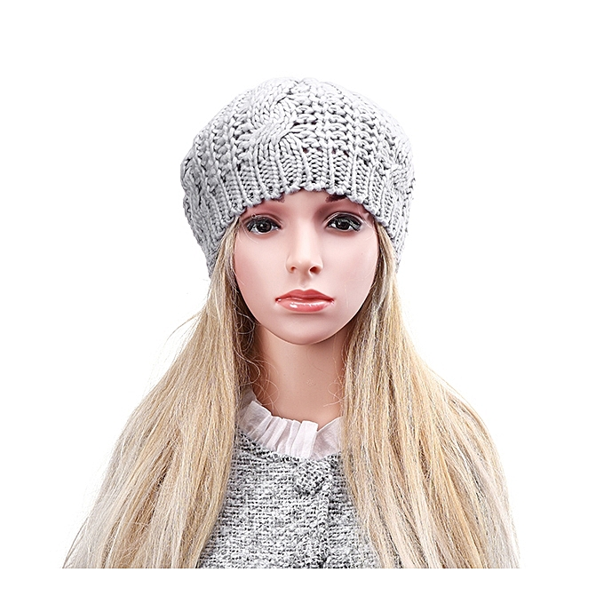 dfbccb35b42 ... Unisex Knitted Crochet Hole Beanie Hat Knitting Foldable Elastic Baggy  Cap For Women Ladies ...
