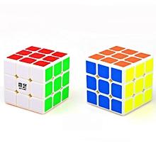 3x3 Rubi'k's Cube Creative Brain Teaser Sticker Magic Cube Speed Cube For Beginners,White