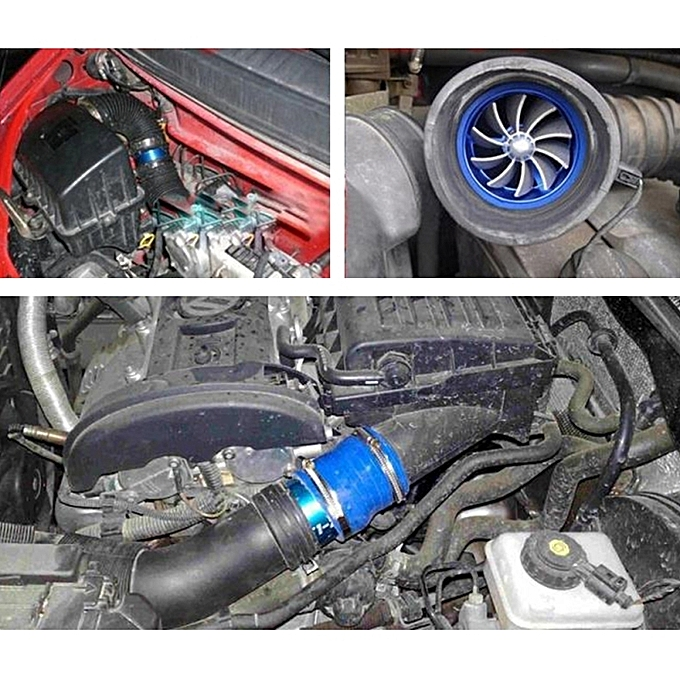 F1-z Car Stainless Universal Supercharger Dual Double Turbine Air Intake  Fuel Saver Turbo Turboing Charger Fan Set Kit(blue)