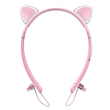 Bunny Ears Bluetooth Headphones with LED light - Pink