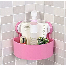 Wall Suction Cups Holder, Bathroom Shelf Shower Shampoo Soap Storage Rack-Pink