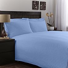 6 Piece 6x6 Blue Superior Quality Satin Stripe Cotton Duvet Cover Set