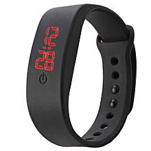 singedanWomens Mens Rubber LED Watch Date Sports Bracelet Digital Wrist Watch BK -Black