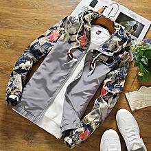 Men Slim Stand Collar Jackets Fashion Sweatshirt Jacket Tops Casual Coat Outwear- Gray