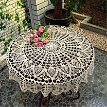 32''/80cm Round White Hand Crochet Table Cloth Runner Topper Pineapple Floral