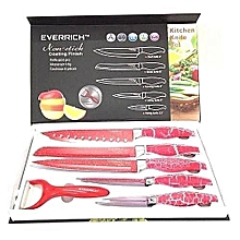 6 Pcs Sharp Knives Set with Non-Stick Coating Finish  and bonus of ceramic Red Peeler- Red