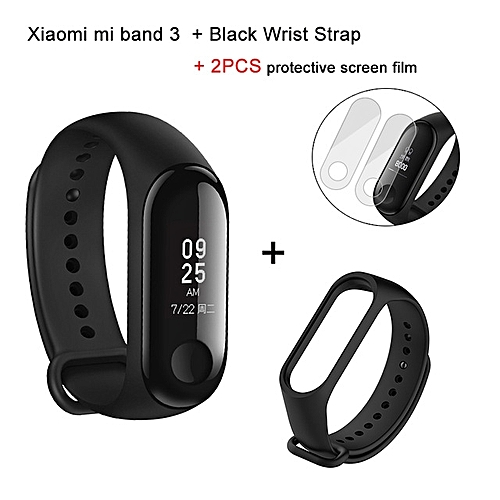 Mi Band 3 Smart Bracelet +Black Replacement Band +2 Free Screen Protector