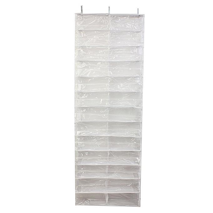 26 Pair Over Door Hanging Shoe Rack Shelf Storage Stand Organiser Pocket Holder White