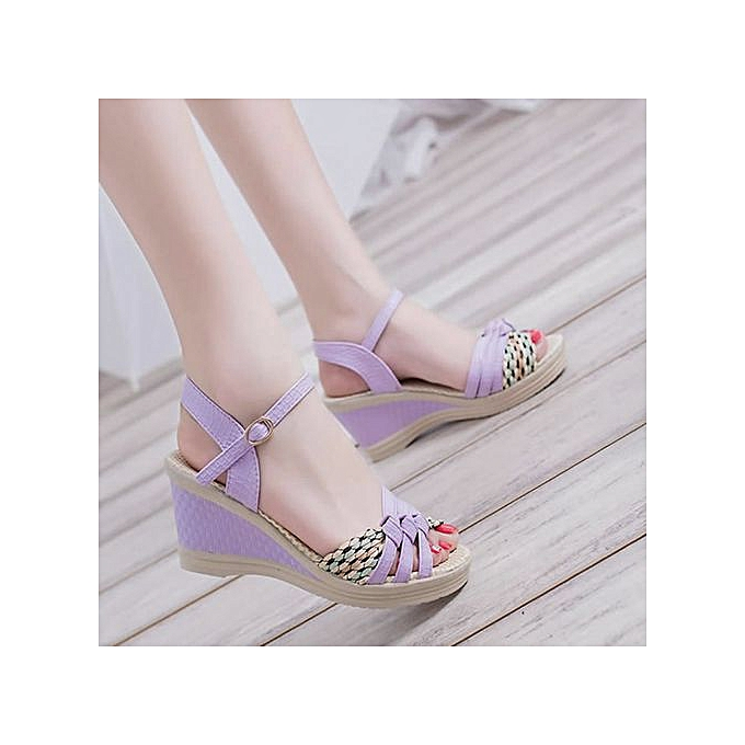 5c0ffdfb6 ... Jiahsyc Store Ladies Women Wedges Shoes Summer Sandals Platform Toe High -Heeled Shoes-Purple