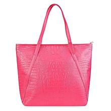 Crocodile Solid Color Shopper Bag - Rose Red