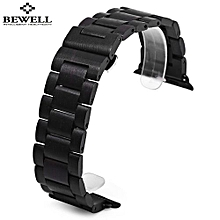 ZS - B01 24MM Wooden Watch Strap Butterfly Clasp Wristband-JET BLACK