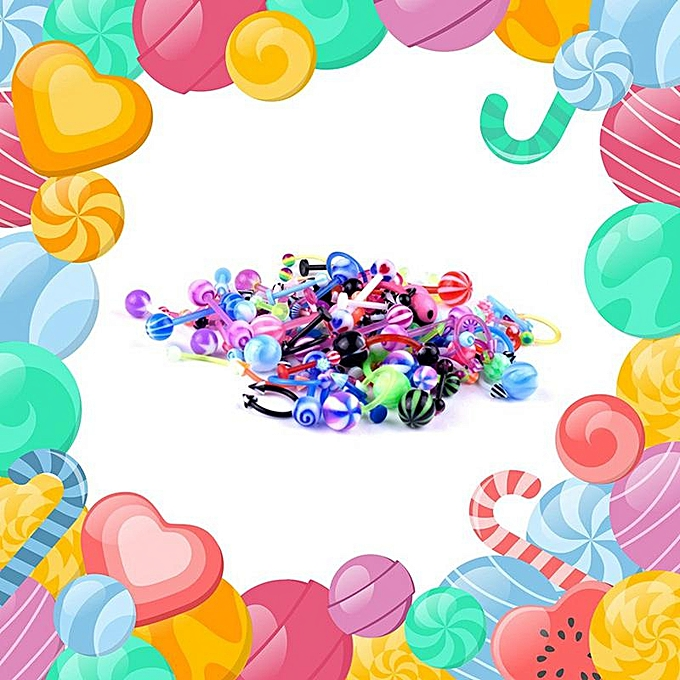 100pcs Lots 8 Styles Acrylic Navel Ring Mixed Colors Navel Piercing Jewelry Belly Button Rings Ombligo Body Jewelry Piercing
