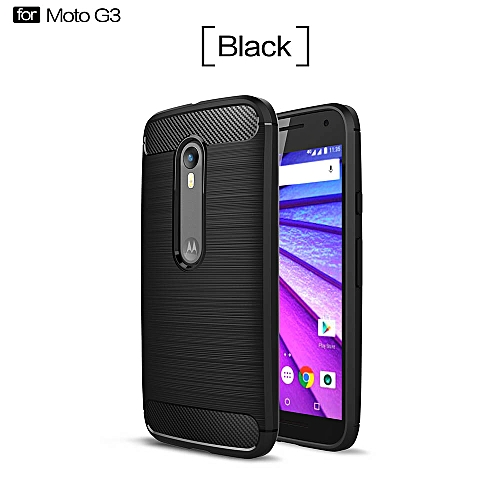 huge discount 28c78 fb44d For Motorola Moto G3 Case Cover Back For Fundas For Moto G3 Silicone Carbon  Fiber Brushed TPU Mobile Phone Cases (Black)