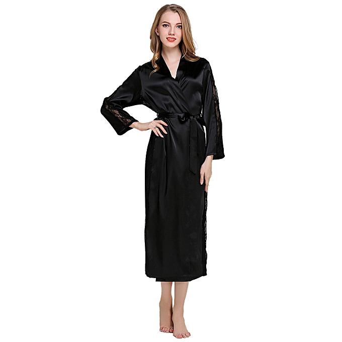 009bad9c1 Womens Bathrobes Short Kimono Robe Bridesmaids Satin Sleepwear Silky Lace  Trim Lingerie With V-Neck