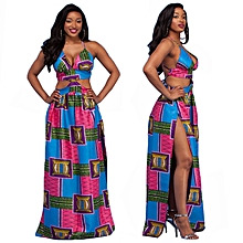 Women's African Print Traditional Gowns Casual Party Dress-Multi