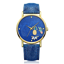GAIETY Women Cute PU and Cloth Band Wrist Watch Blue G418