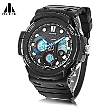 AK16121 Dual Quartz Digital Men Watch LED Stopwatch 5ATM Sport Wristwatch-Blue-Blue