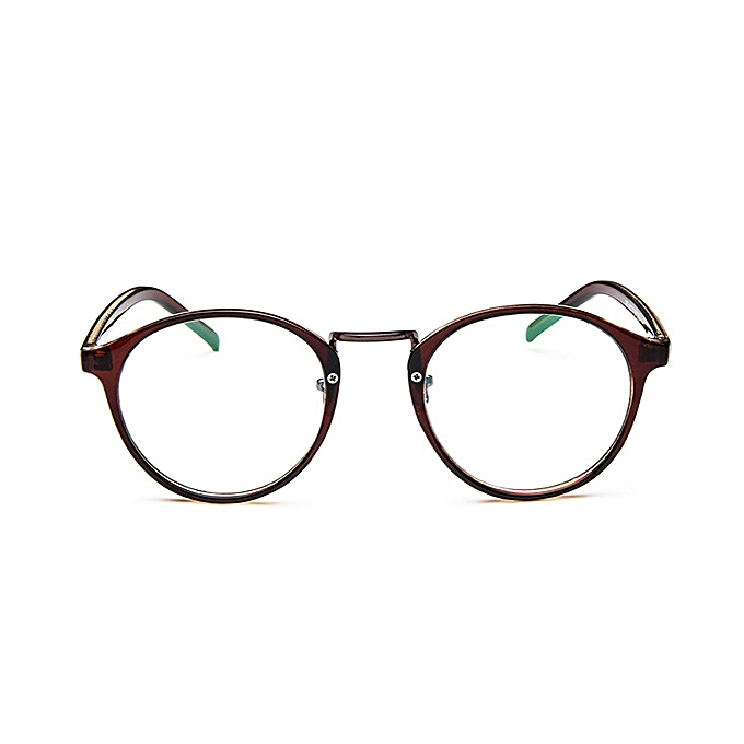 d6c8cf1b09f6 Women Mens Clear Lens Glasses Vintage Round Frame Matal Retro Plain Glasses