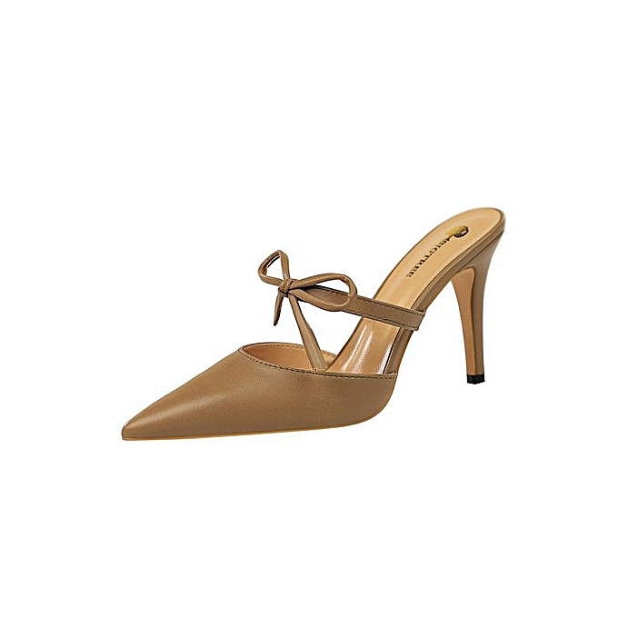 1bc3809f8 Fashion High Heels Sandals Women Slingback Heeled Sandals Pointed Toe  Stiletto High-Heeled Shoes Bow